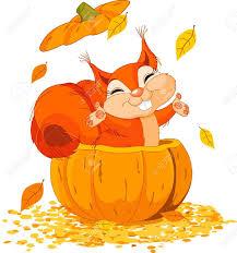 pumpkin cartoon pic 11209426 squirrel jumping out from a pumpkin stock vector autumn