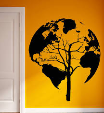 amazon com wall vinyl stickers world map earth tree unusual decor amazon com wall vinyl stickers world map earth tree unusual decor for living room z2076m home kitchen