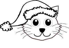 cat 1 face with santa hat black white line art christmas xmas
