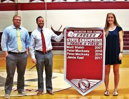 high school senior sports banners arlington s keel honored for track title the bennington banner