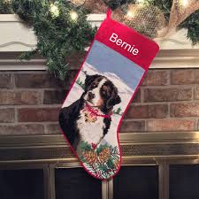 bernese mountain dog personalized needlepoint christmas
