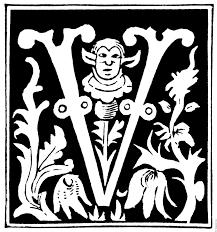 decorative initial letter u201cv u201d from 16th century
