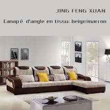 canapé d angle tissu beige canapé d angle en tissu beige marron salon meubles maison le