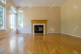 Laminate Flooring Fireplace Empty Family Room With Fireplace Hardwood Floor Blank Wall