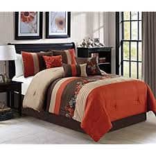 Rust Comforter Set Amazon Com Chezmoi Collection Kariya 7 Piece Embroidery Bamboo