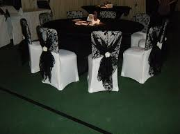 black and white chair covers black and white table