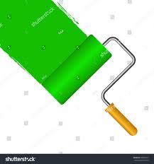 green roller paint brush leaving green stock vector 539801677