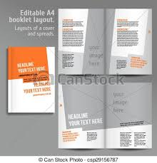 vector of a4 book layout design template with cover and 2 spreads