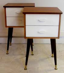 White Wooden Bedroom Furniture Square Black Wooden Bedside Table With White Wooden Drawers Ans