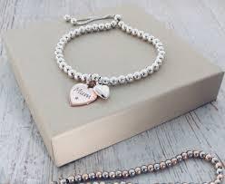 rose silver bracelet images Silver ball slider bracelet with puffed heart rose vermeil jpg