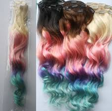 Black To Brown Ombre Hair Extensions by Full Set 100 Grams Bundle Clip In Pastel Hair Extensions