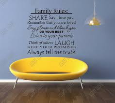 cute sayings for home decor family rules share say i love you do your best vinyl wall