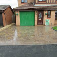 natural stone driveway and rear garden project in pennington leigh