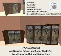 Room Divider Cabinet Second Life Marketplace Art Nouveau Cabinet Room Divider Set Oak