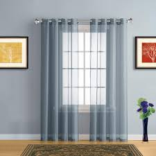 warm home designs dusty blue sheer curtains u0026 window scarf