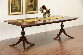 sold banded mahogany vintage double pedestal dining table