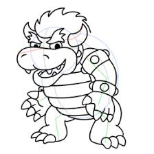 how to draw bowser from super mario brothers
