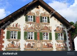 Painted Houses Medieval Painted Houses Oberammergau Bavaria Germany Stock Photo