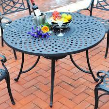 Aluminum Patio Dining Set Furniture Sedona 46 Inch Cast Aluminum Dining Table In Round