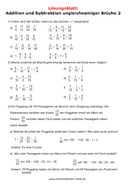 brüche addieren und subtrahieren übungen mathematik klassenarbeiten bruchrechnen