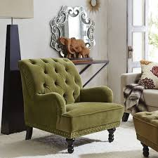 Armchair Legs Chairs Olive Green Velvet Armchair Carved Hardwood Legs Button