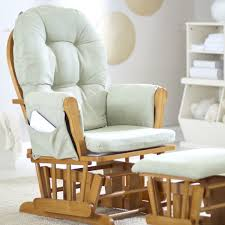 White Wooden Rocking Chair Nursery Amazing White Fabric Tufted On Brown Wooden Rocking Chair For Your