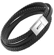 white leather bracelet images Ostan mens genuine leather bracelet stainless steel jpg