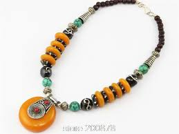 tibetan necklace images Tnl559 tibetan simulent amber big pendant necklace wholesale tibet jpg