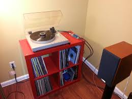 ikea expedit shelving for turntable and records office workspace