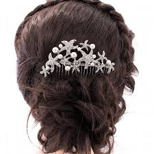 hair crystals pearl wedding hair comb starfish bridal hair comb rhinestone