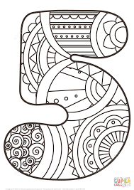 number 5 zentangle coloring page free printable coloring pages
