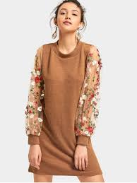 sweater dress mesh panel floral mini knitted dress brown sweater dresses s zaful