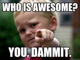 You Are Awesome Meme - who is awesome you dammit baby pointing quickmeme