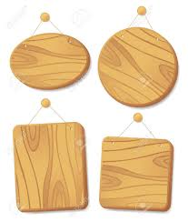 wooden boards collection hanging on a cord with a nail royalty
