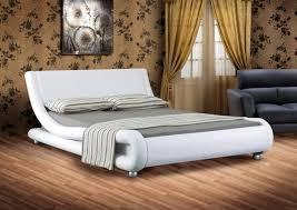 White Frame Beds Italian Designer Faux Leather Or King Black White