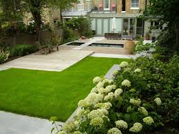 home garden landscape ideas with green grass also wood deck and