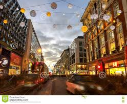 christmas decorations on oxford street london at night