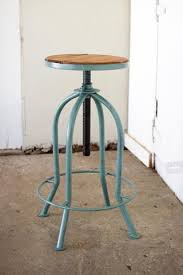 Industrial Adjustable Bar Stools Adjustable Industrial Blue Finish Bar Stool With Recycled Wood
