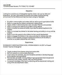 Kindergarten Teacher Job Description Resume by Preschool Teacher Resume Cover Letter Kindergarten Teacher Resume