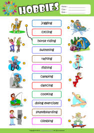 hobbies esl printable worksheets kids 1