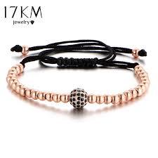 macrame bracelet with beads images Buy 17km new black cz beads ball braiding macrame jpg