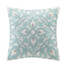 bedroom cool white and blue floral pillow design ideas for living