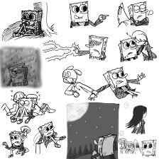 sketch spongebob and friends black and white by twinscover on
