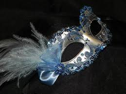 blue masquerade masks feather masquerade mask in light blue and silver made to order