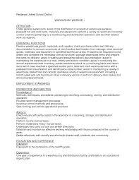 warehouse manager job description warehouse worker resume samples