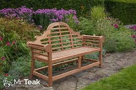 the sissinghurst lutyens deluxe teak garden bench fully assembled