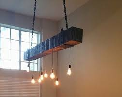 rustic beam light fixture salvaged wood home decor wood edison bulbs