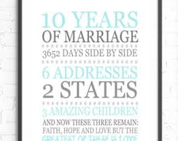 10 year anniversary gift ideas for anniversary wall etsy