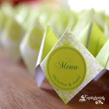 id e menu mariage menus verts pomme déco de fêtes vert pomme menus