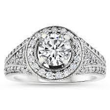 moissanite vintage engagement rings forever one moissanite vintage halo engagement ring